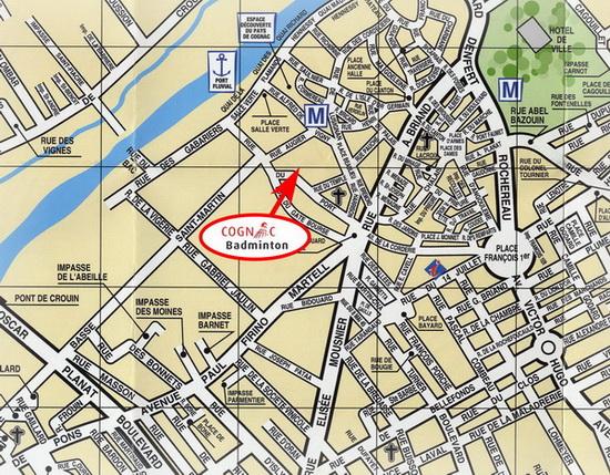 Horaires et gymnases site cognac badminton for Plan de cognac